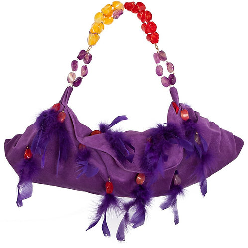 Angel of the Royal Purple Realm - TONI Medio Crescent Leather Bag