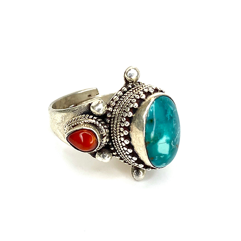 Turquoise Blue Oval and Red Stones - Adjustable Ring