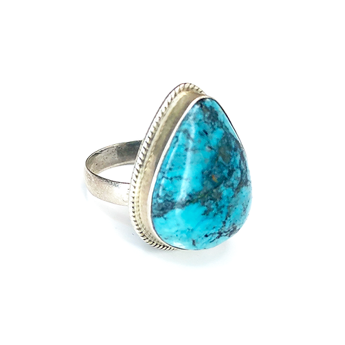 Turquoise Drop Stone Silver Ring