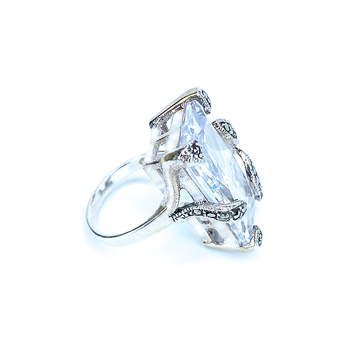 Stone on Pedestal Silver Ring
