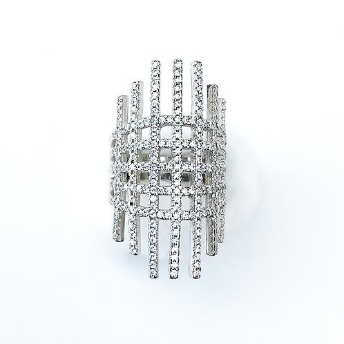 Zirconia Fence Silver Ring