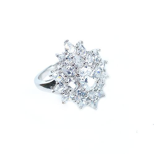 Flower Zirconia Silver Ring