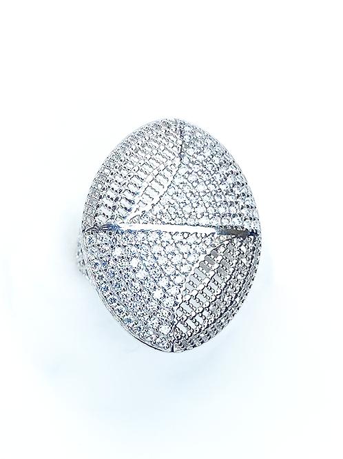 Mesh Zirconias Silver Ring
