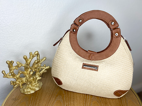 Satchel Leather & Wicker Bag