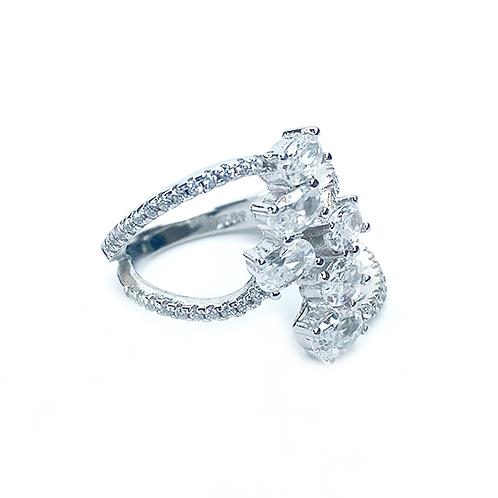 Six Zirconias Silver Ring