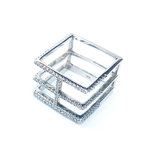Square Zirconia Dream Silver Ring