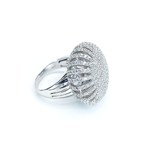 Zirconia Cushion Silver Ring