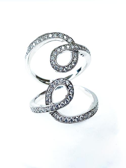 S Zirconia Silver Ring