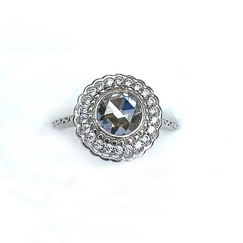 Silver Flower Zirconia Ring