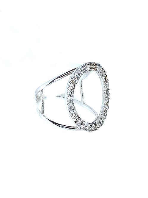 Circle Silver Zirconia Ring