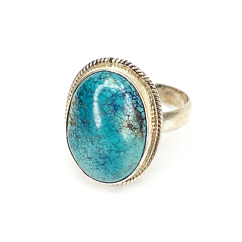 Turquoise Oval Stone Silver Ring