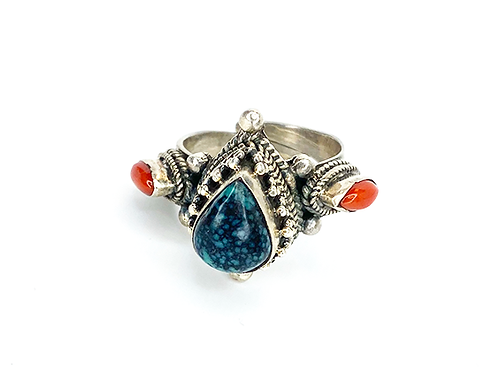 Turquoise Blue Drop and Red Stones - Adjustable Ring