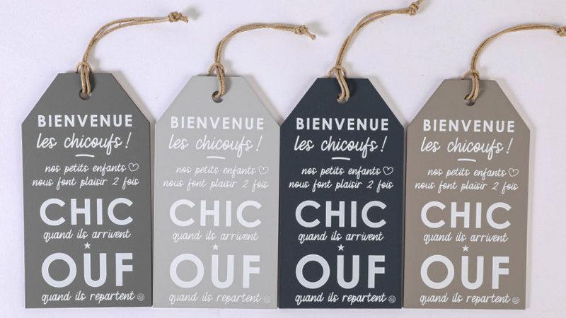 """Etiquette message """"Bienvenue chez les CHICOUFS"""""""