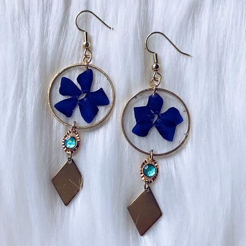 Purple Flower Aqua Resin Earrings