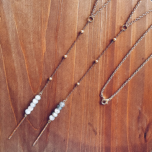 Labradorite Lariat Stick Necklace