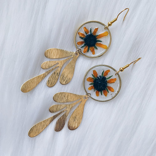 Yellow Daisy Petal Resin Earrings - Gold