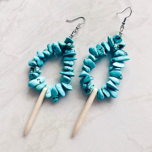 Crystal Teardrop Earrings - Turquoise