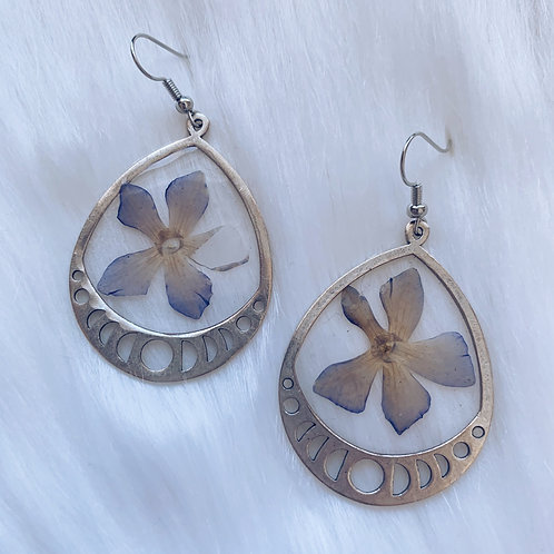 Blue Flower Moon Phase Resin Earrings