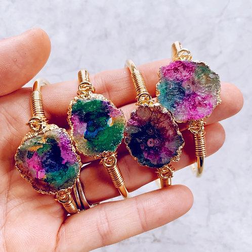 Rainbow Geode Crystal Cuff