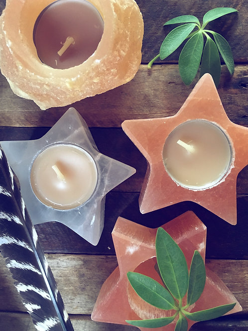 Selenite Star Candle Holder - Orange