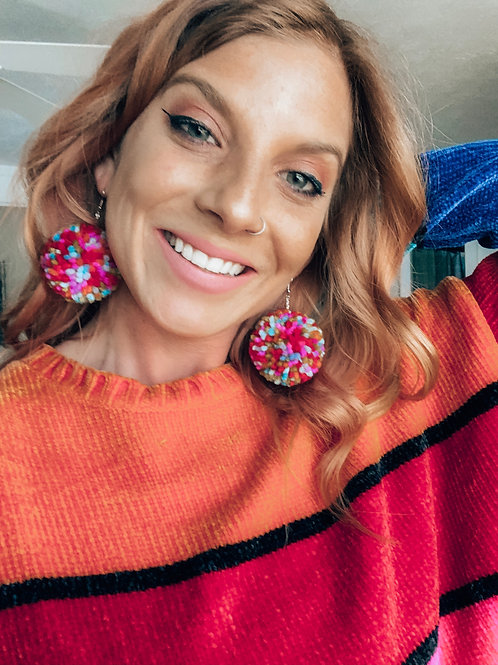 Rainbow Pride Pom Pom Earrings