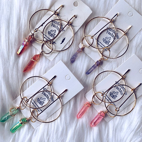 Hoopla Aura Quartz Earrings