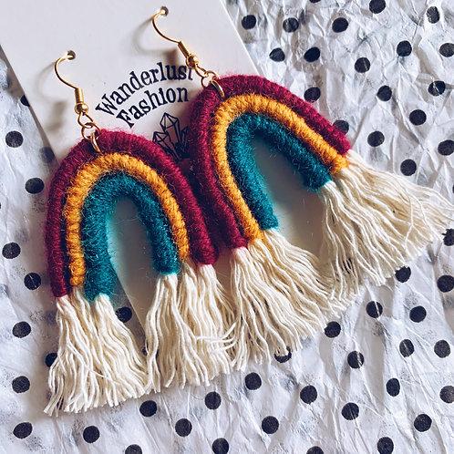 Fall Trio Rainbow Tassel Earrings