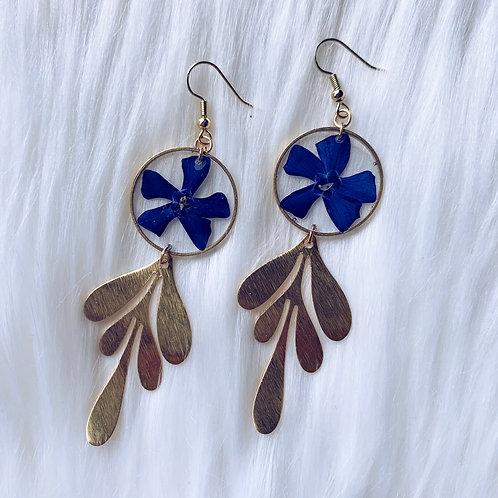 Purple Flower Gold Petal Resin Earrings