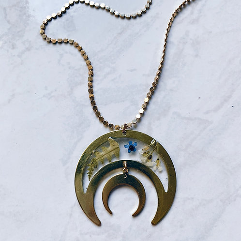 Fern & Flower Crescent Moon Resin Necklace