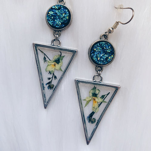 Mixed Flower Druzy Resin Earrings