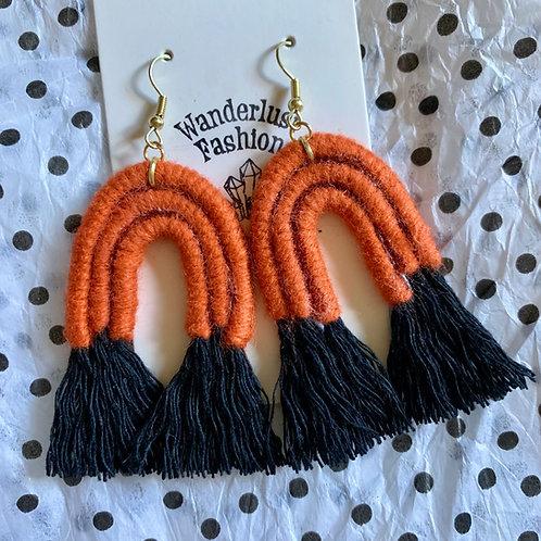 Spooky Orange Rainbow Tassel Earrings