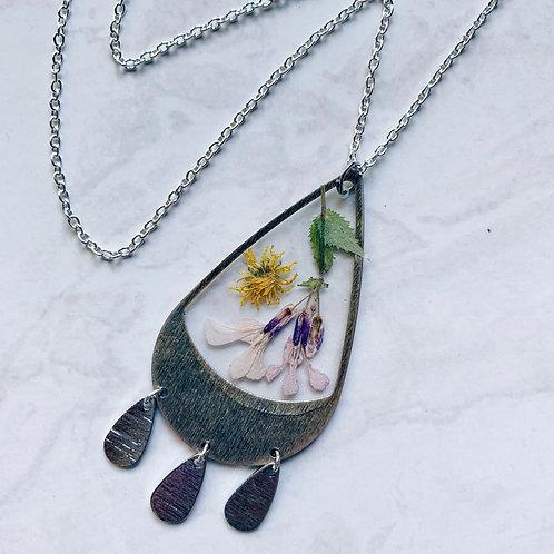 Dandelion Cherry Blossom Resin Necklace