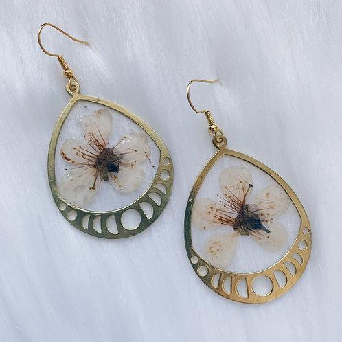 Cherry Blossom Moon Phase Resin Earrings