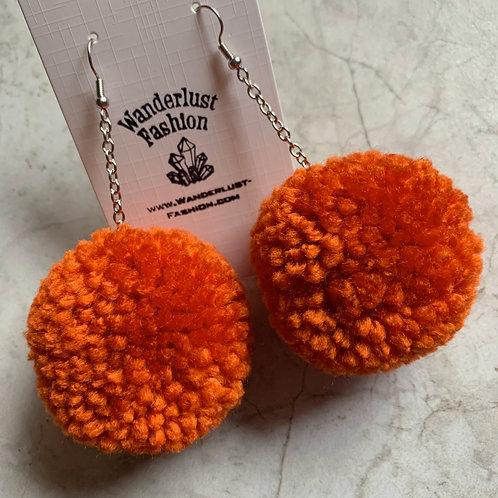 Pumpkin Orange Pom Pom Earrings