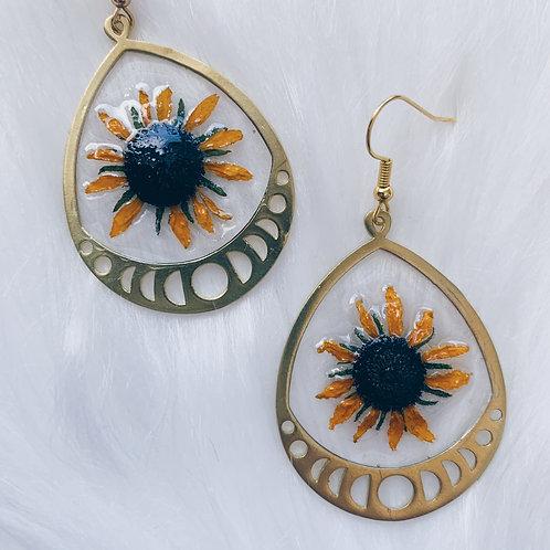 Yellow Daisy Moon Phase Resin Earrings