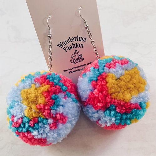 Summer Splash Pom Pom Earrings