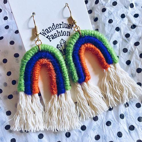 Halloween Trio Rainbow Tassel Earrings
