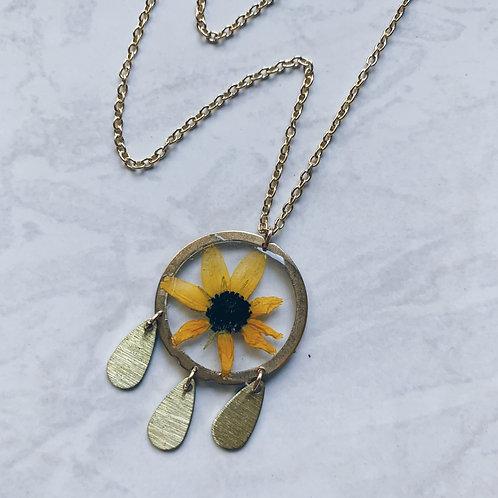 Daisy Dream Catcher Resin Necklace