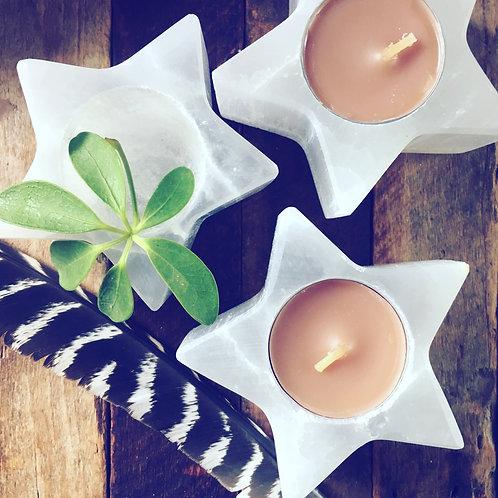 Selenite Star Candle Holders - White