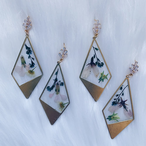 Mixed Floral Zirconia Resin Earrings
