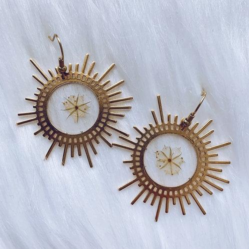 Delicate Flower Resin Sun Earrings
