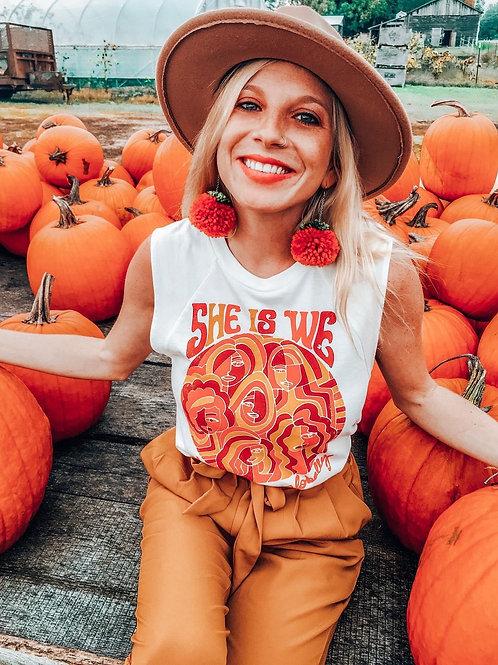Pumpkin Pom Pom Earrings