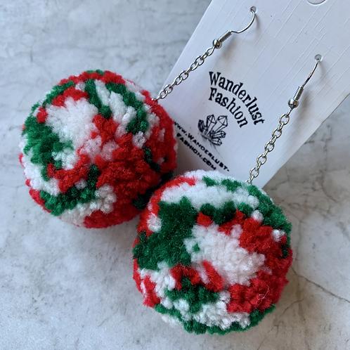 Christmas Camo Pom Pom Earrings