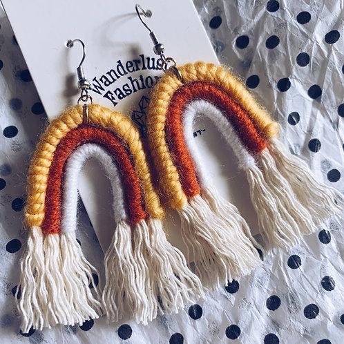Candy Corn Rainbow Tassel Earrings