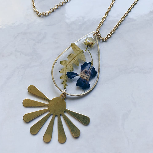 Blue Flower Fern Resin Necklace