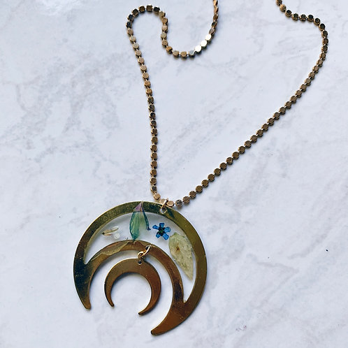 Mixed Flower Crescent Moon Resin Necklace
