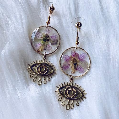 Layered Flower Evil Eye Resin Earrings
