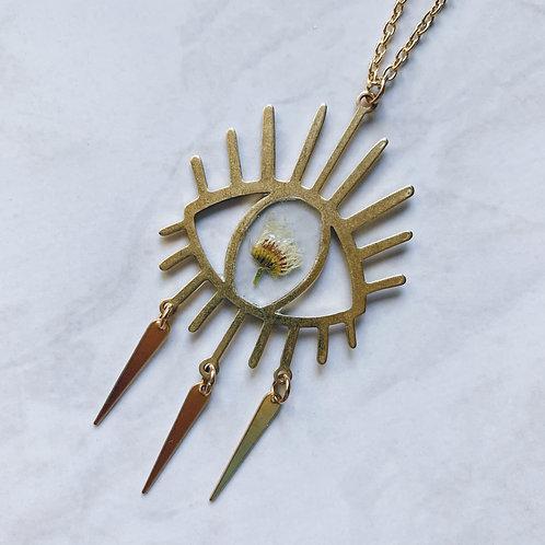 Third Eye Flower Resin Necklace