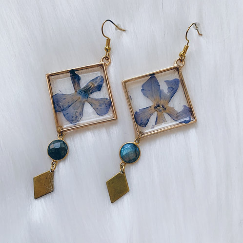 Blue Petal Labradorite Resin Earrings