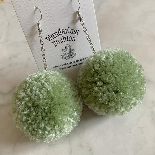Sage Green Pom Pom Earrings
